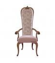 Chaise dossier haut, chaise bois naturel, chaise avec accoudoirs, chaise assise rembourrée
