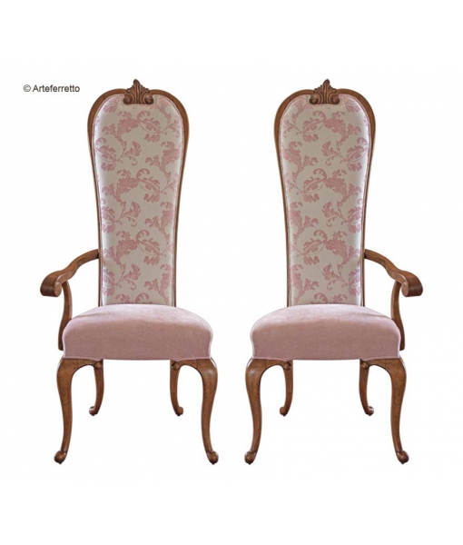 Chaise dossier haut, chaise avec un accoudoir, chaise en bois, bois teinte naturelle