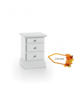 Table de chevet blanche 3 tiroirs, chevet blanc, table de chevet shabby chic, style provençal, chambre shabby chic