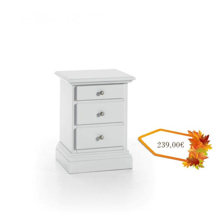 Table de chevet blanche 3 tiroirs lamaisonplus for Tables de chevet blanches