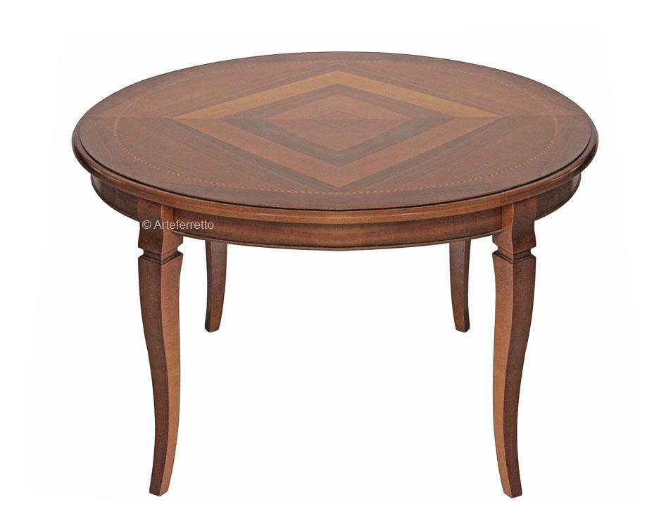 Table de repas ronde avec marqueterie lamaisonplus for Table de repas ronde avec rallonge