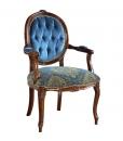 Fauteuil médaillon ovale, fauteuil classique, fauteuil, fauteuil velours, velours bleu, achat fauteuil en bois, fauteuil avec accoudoirs