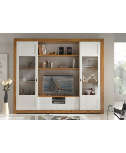 Meuble TV mural avec portes coulissantes, meuble mural en frêne, meuble TV mural design