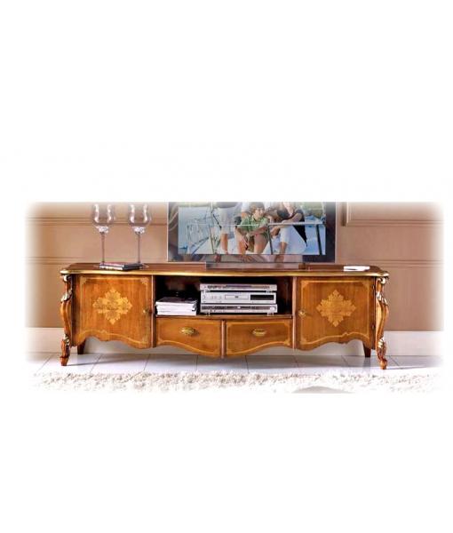 Meuble TV marqueterie, meuble tv, banc tv, meuble tv bas, meuble tv avec portes, meuble tv pour barre de son, meuble télé barre de son, meuble tv classique, marqueterie