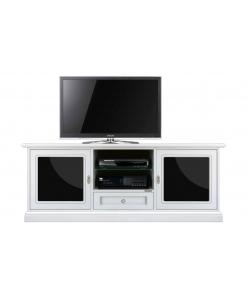Meuble TV 153 cm blanc, meuble tele, meuble tv, meuble télé blanc, meuble télévision en bois, meuble télé blanc laqué