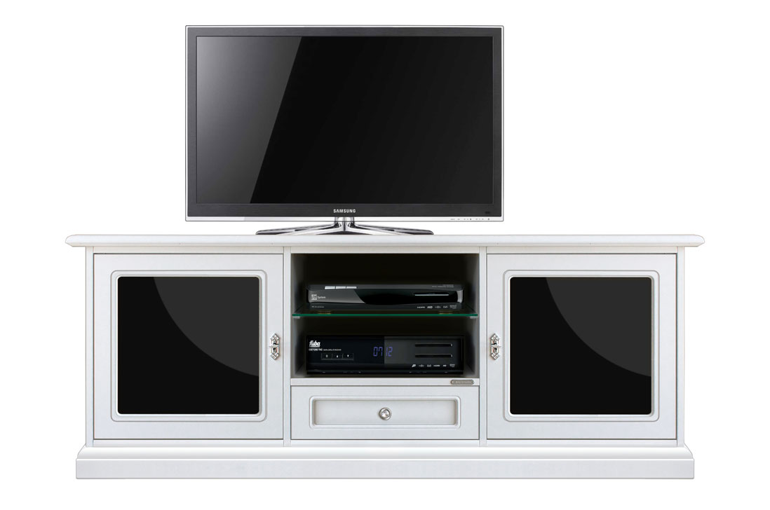 meuble tv 153 cm blanc et plexiglass noir lamaisonplus. Black Bedroom Furniture Sets. Home Design Ideas