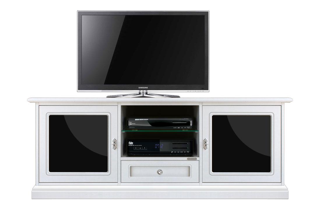 meuble tv 153 cm blanc et plexiglass noir lamaisonplus. Black Bedroom Furniture Sets. Home Design Ideas