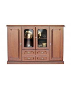Buffet 160 cm, buffet portes vitrées, buffet 4 portes, meuble buffet rangement, bahut, bahut en bois
