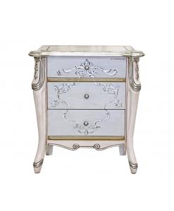 Table de chevet argent et rose pâle, table de chevet, table de chevet 3 tiroirs, table de chevet en bois, meuble pour chambre