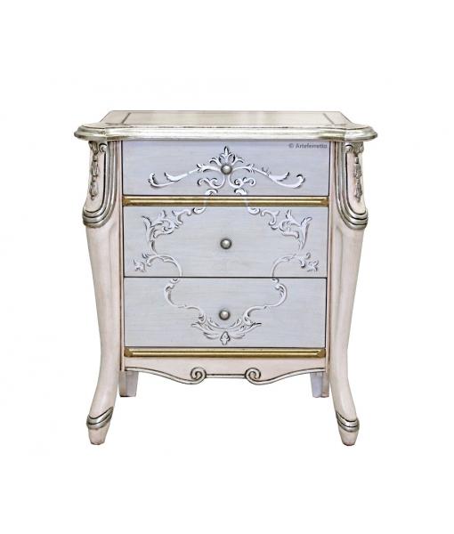 Table de chevet argent et rose pâle réf. 6714-S