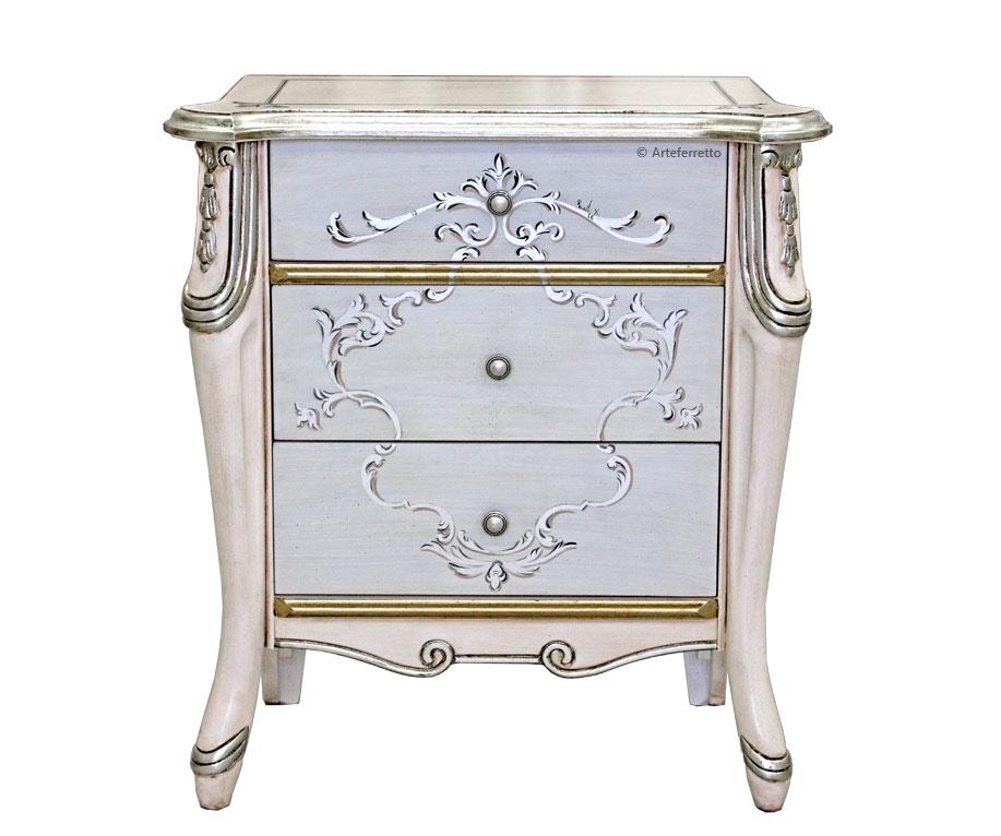 table de chevet argent et rose p le beautiful line lamaisonplus. Black Bedroom Furniture Sets. Home Design Ideas