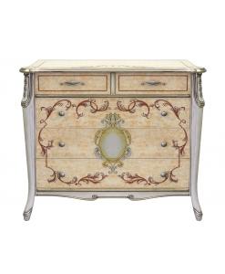 Commode 3 tiroirs peinte à la main, commode peinte, commode luxe, commode exclusive, commode élégante, commode chambre à coucher