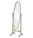 Miroir ovale sur pied, miroir ovale, miroir bois, miroir blanc, miroir pour chambre