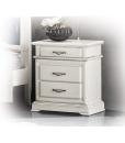 Table de chevet 3 tiroirs, table de chevet blanche, chambre à coucher blanche, chevet et lit, table de chevet en bois