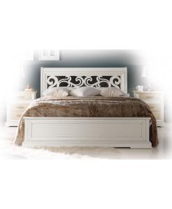 Lit chantourné en bois massif, lit classique, achat lit, lit, lit blanc, lit chambre adulte