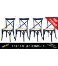 Lot de 4 chaises de cuisine laquées bleu nuit