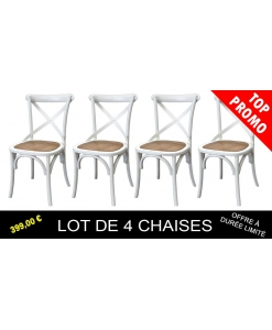 Lot de 4 chaises blanches Shabby Chic, lot chaises, achat 4 chaises, chaise shabby chic
