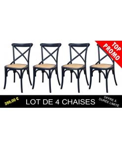 Lot de 4 chaises de repas noires, chaises noires, chaise de repas