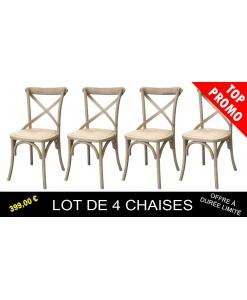 Lot de 4 chaises teinte bois naturel, chaise bois massif, lot 4 chaises