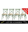 Lot de 4 chaises vertes en bois d'orme, chaise verte, lot 4 chaises, chaises pour cuisine