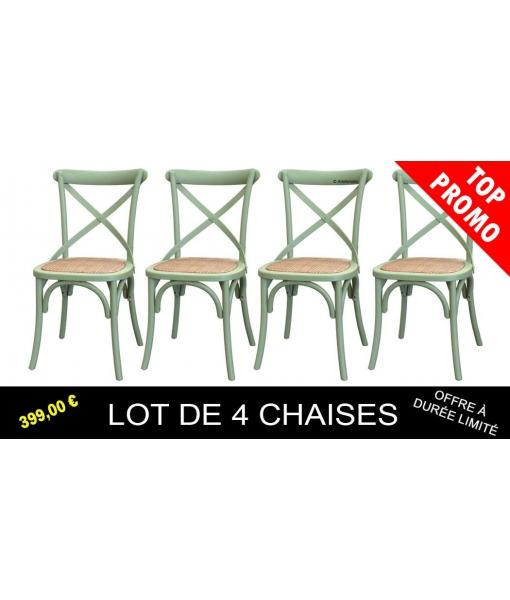 Lot de 4 chaises vertes en bois d'orme réf. E-6806-V