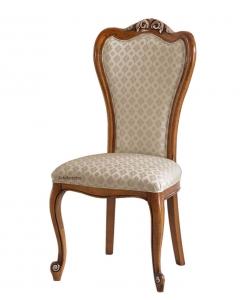 Chaise rembourrée dossier haut, chaise bois massif, chaise rembourrée, chaise tissu, chaise salon