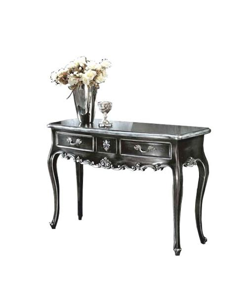 Console hall d'entrée noir et or, feuille d'or, console feuille d'or, table console, console meuble italien, console d'entrée, console en bois, console avec tiroirs