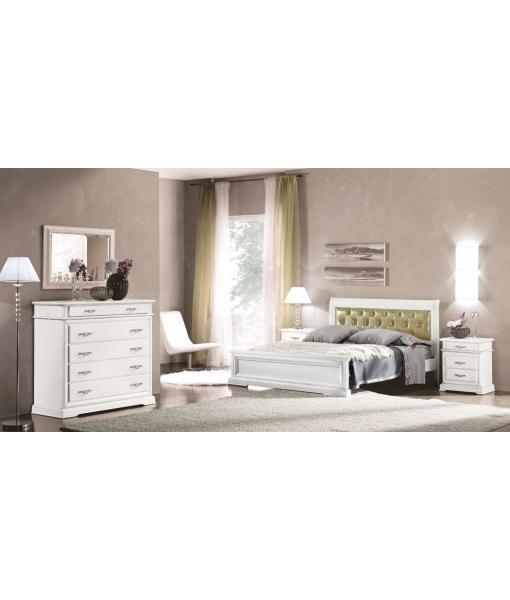 Commode pour chambre, lit, lit blanc, aménagement chambre, chambre à coucher complète, chambre blanche, chambre à coucher blanche