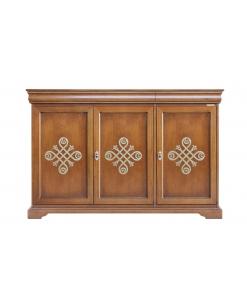 Buffet Louis Philippe 3 portes, meuble buffet, bahut, enfilade, buffet haut, meuble buffet en bois, acheter buffet pas cher