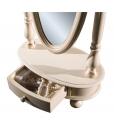 Miroir basculant inclinable sur pied, miroir avec tiroir, miroir ovale pour chambre, miroir en bois