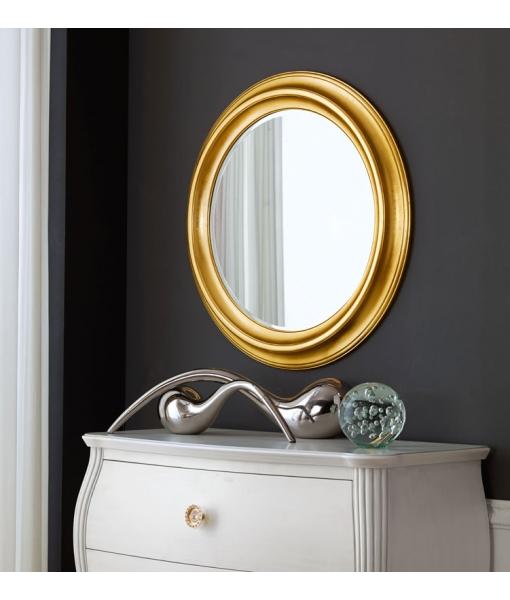 Miroir rond bois massif lamaisonplus for Miroir rond entree