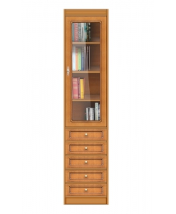 Bibliothèque haute porte vitrée et tiroirs réf. EC-COM-M6