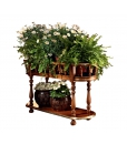 Porte plantes ovale 2 niveaux, porte pot de fleur pour intérieur, porte plante en bois, porte-plante