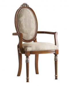 Chaise ovale avec accoudoirs, chaise bout de table, chaise dossier ovale, chaise ovale, chaise style empire