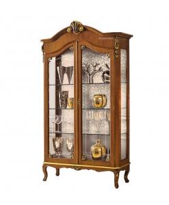 Vitrine classique 2 portes feuille d'or, vitrine bois et verre, vitrine lumineuse, vitrine style classique