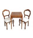 Table échiquier marqueté, table échiquier, table pour jouer aux échecs, table échiquier en bois, table pour échecs
