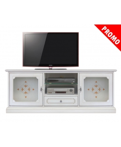 Meuble tv 150 cm largeur Top Glass, meuble tv blanc