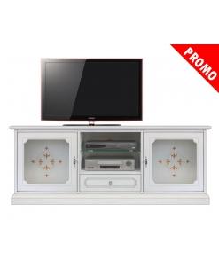 Meuble tv 150 cm largeur Top Glass, meuble tv blanc