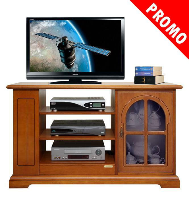 Promo meuble tv classique avec porte vitr e lamaisonplus for Meuble avec cachette