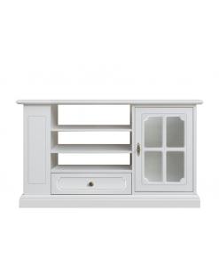 Meuble TV laqué blanc porte vitrée,meuble tv, meuble tv blanc, meuble tv étagère, meuble tv en bois, meuble tv bois laqué