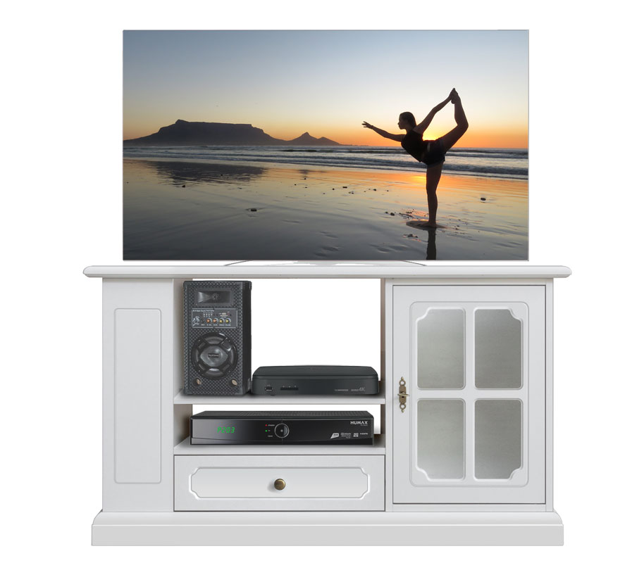 meuble tv laqu blanc porte vitr e lamaisonplus. Black Bedroom Furniture Sets. Home Design Ideas