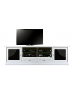 Meuble TV long noir et blanc, banc tv 200 cm, meuble tv blanc