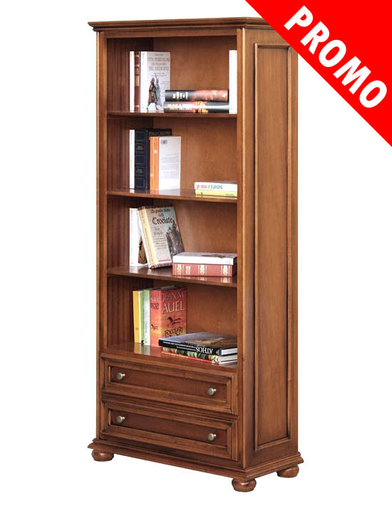 promo meuble biblioth que classique 2 tiroirs lamaisonplus. Black Bedroom Furniture Sets. Home Design Ideas