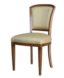 Chaise rembourrée pieds pointus, chaise classique, chaise en bois, chaise tissu beige, chaise dossier rembourré, chaise de bonne qualité, chaise italienne