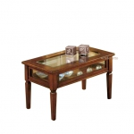 Table vitrine pour salon, table de salon, table basse rectangulaire, table de salon bois massif, table style rustique