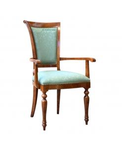 Chaise bout de table Louis XVI, chaise dossier haut, chaise dossier rembourré, chaise en bois, chaise accoudoirs