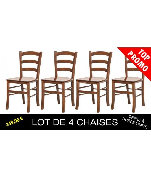 Lot de 4 chaises de repas en bois  réf. E-5516