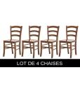 Lot de 4 chaises de repas en bois, chaises en promotion