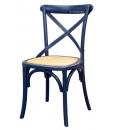 Lot de 4 chaises de cuisine laquées bleu nuit réf. E-6806-BL