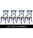 Lot de 4 chaises de cuisine laquées bleu nuit, chaises de repas, chaise bleue, chaise bois massif, chaise de cuisine